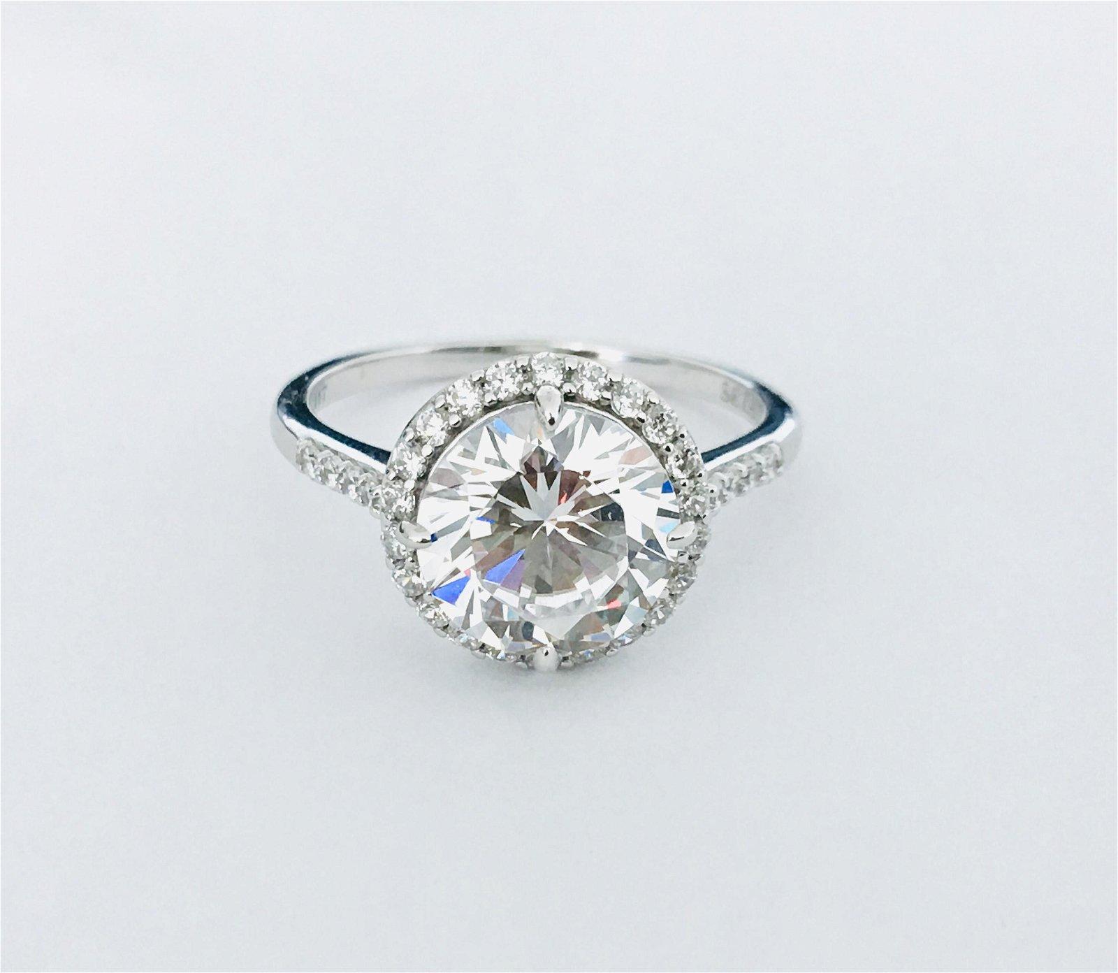 Leaf Motif 3.87 CT Diamond & White Gold Wedding Ring