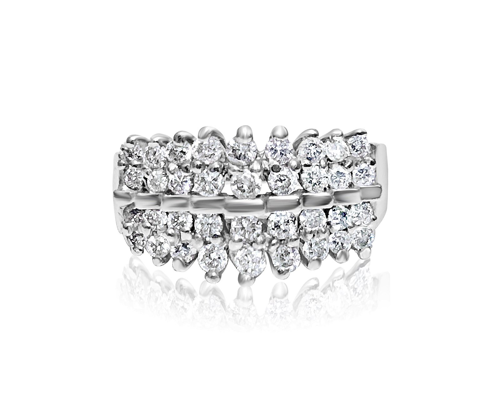 14K White Gold, 1.00 carat VS/G Diamond Cocktail Ring