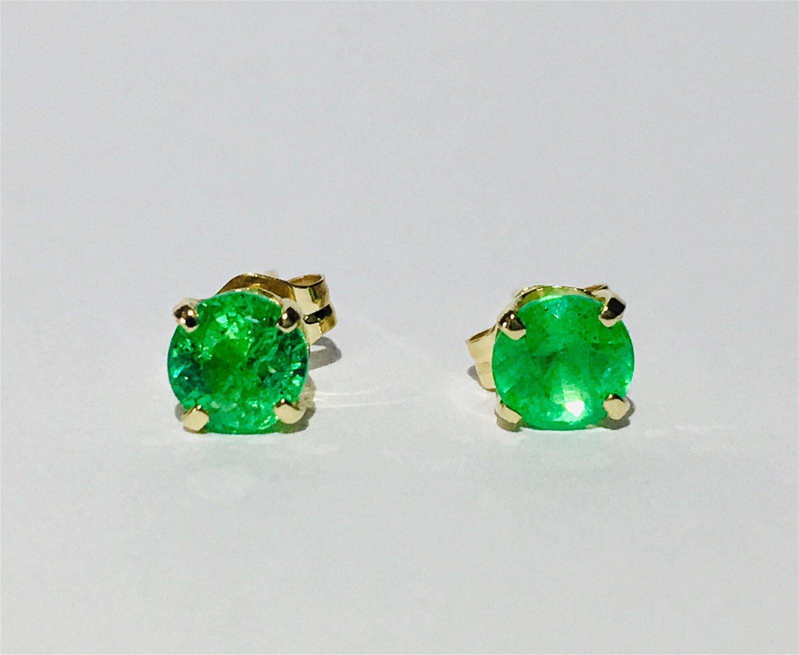 Colombian Emeralds in 14K Gold butterfly back studs