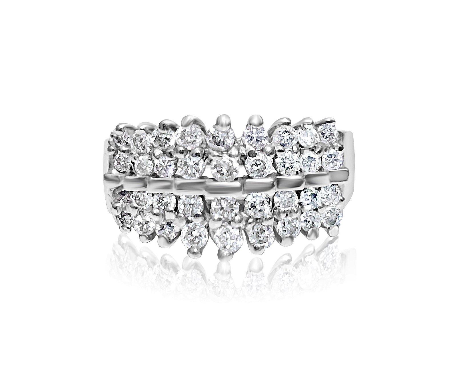 14K White Gold, 1.00 carat VS/G Diamond Cocktail Ring