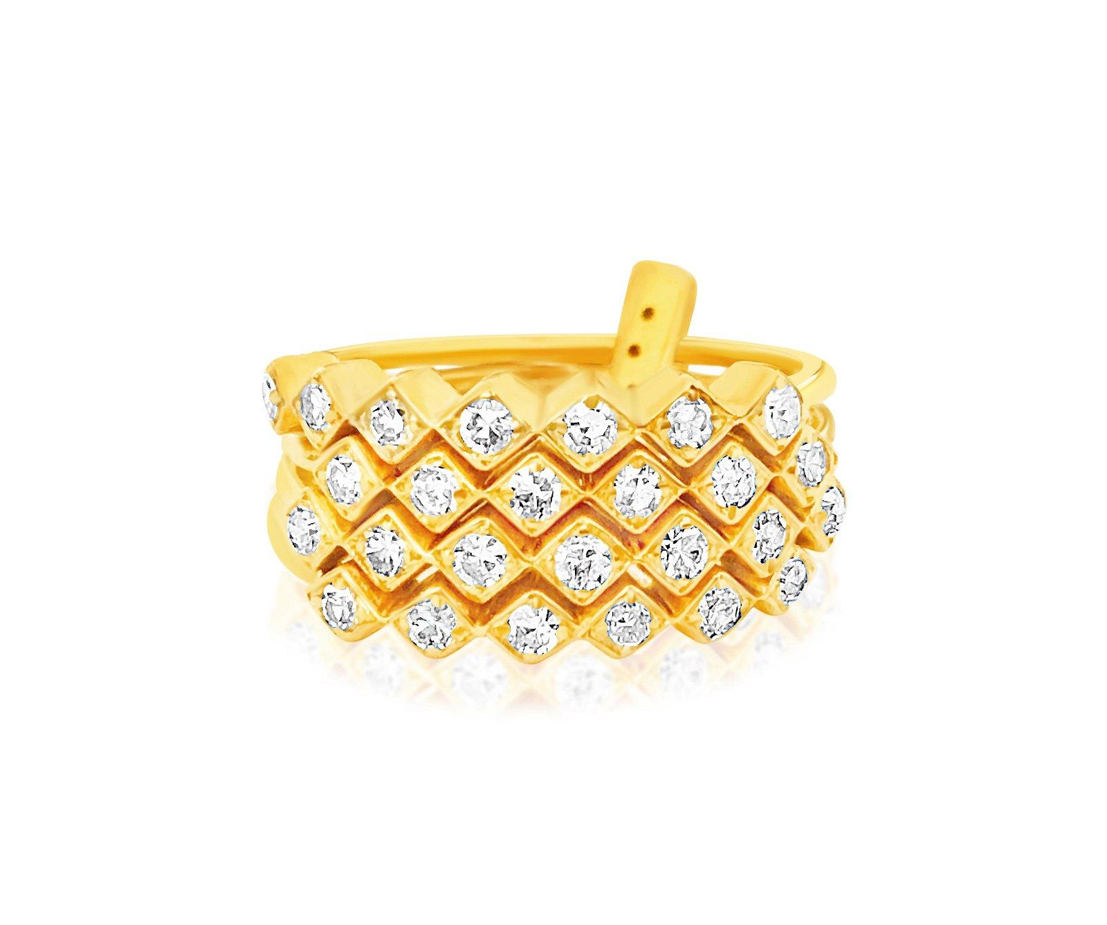 Vintage Womens 1.00ct Diamond & 14K Gold Stack Rings