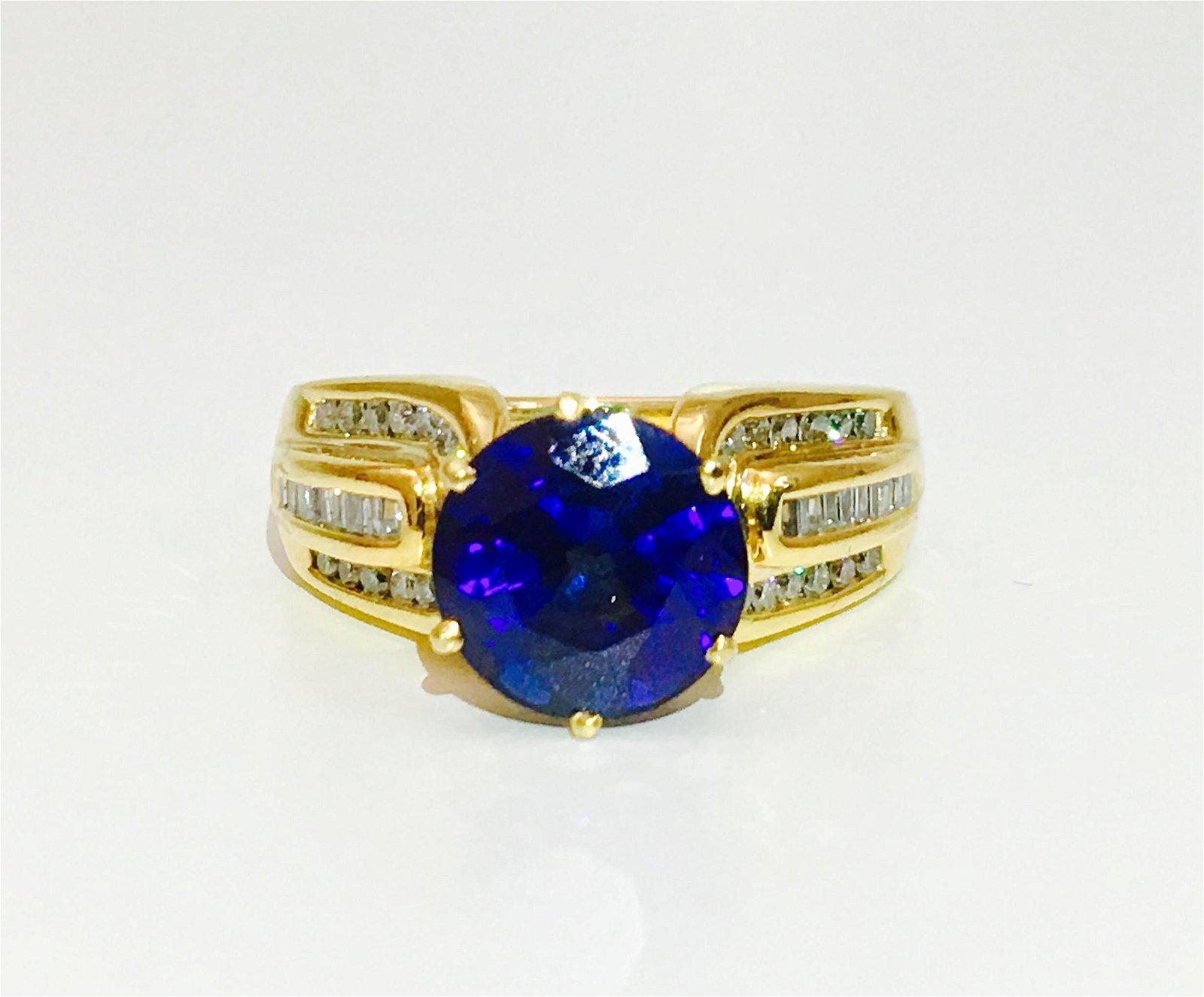 14K, Natural 7.00 ct Blue Sapphire & Diamond Ring