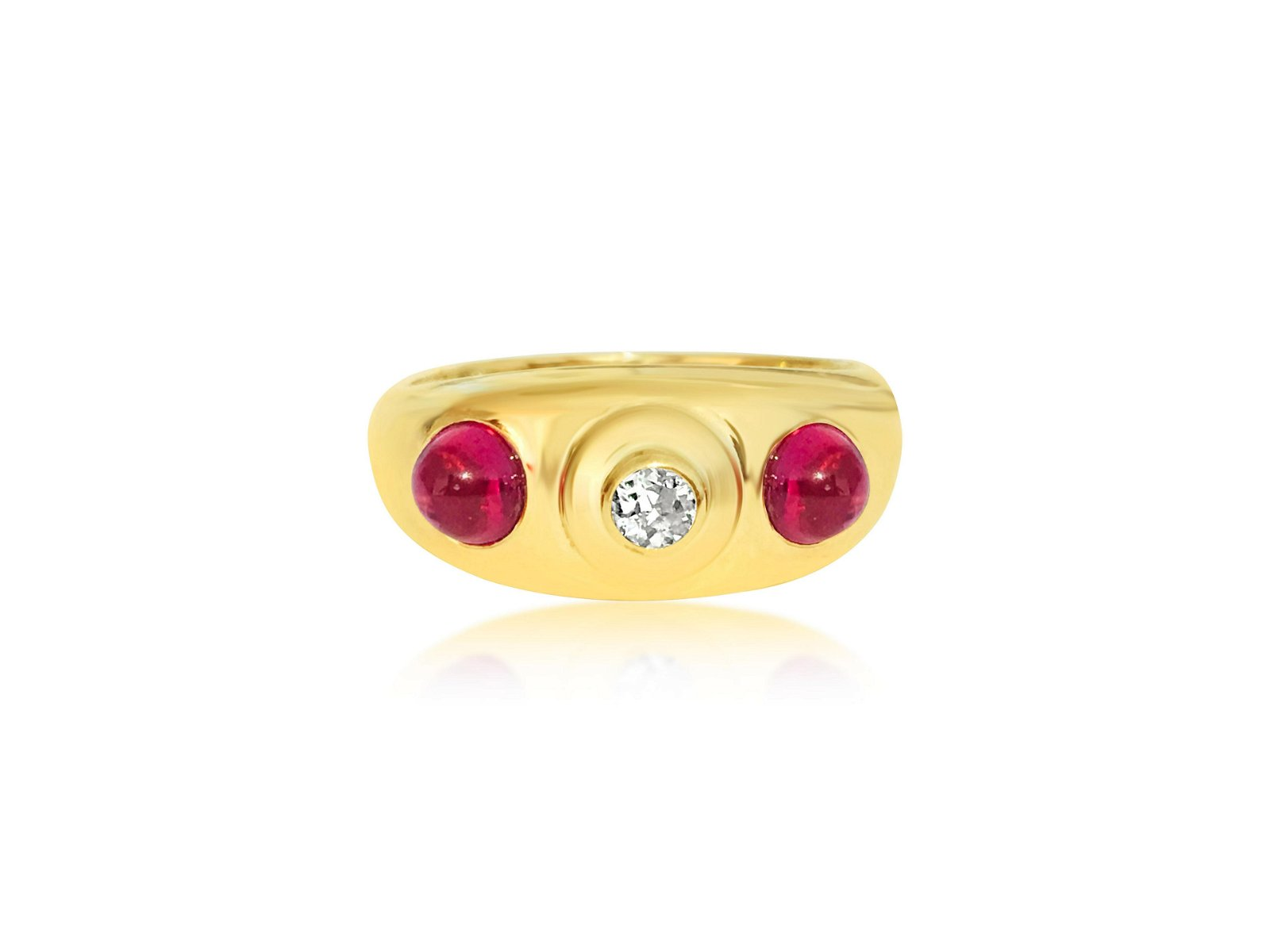 Sophisticated Vintage, 14k Gold, Ruby & Diamond Ring