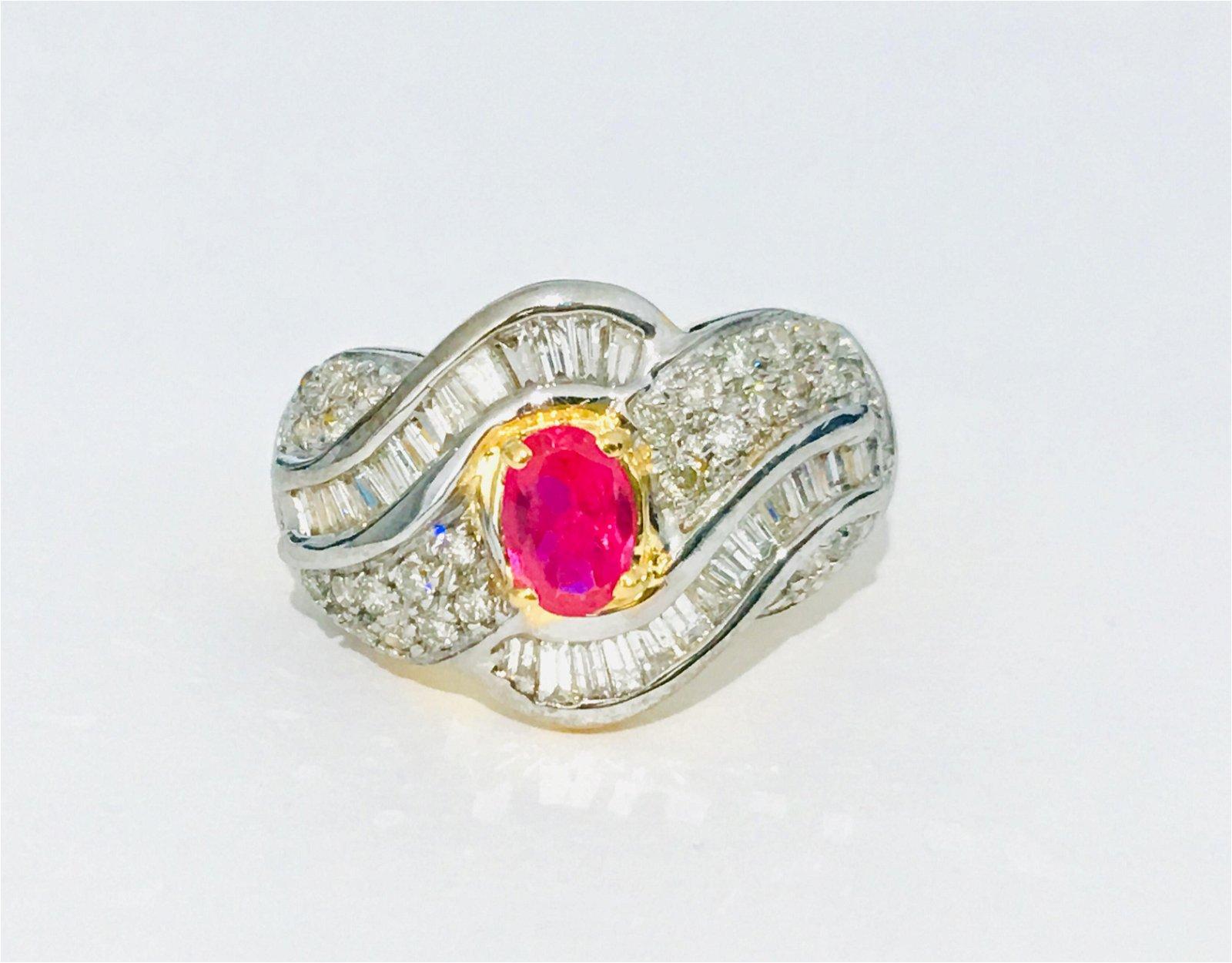 Vintage 14k Gold, 2.70 Carat Ruby & Diamond Ring