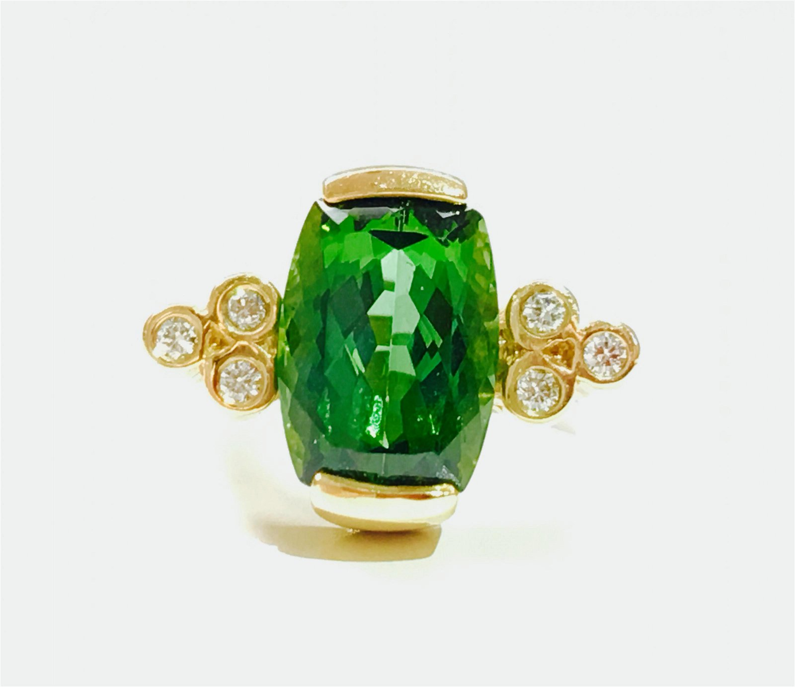 14K Gold, 4.00 CT Green Tourmaline and Diamond Ring