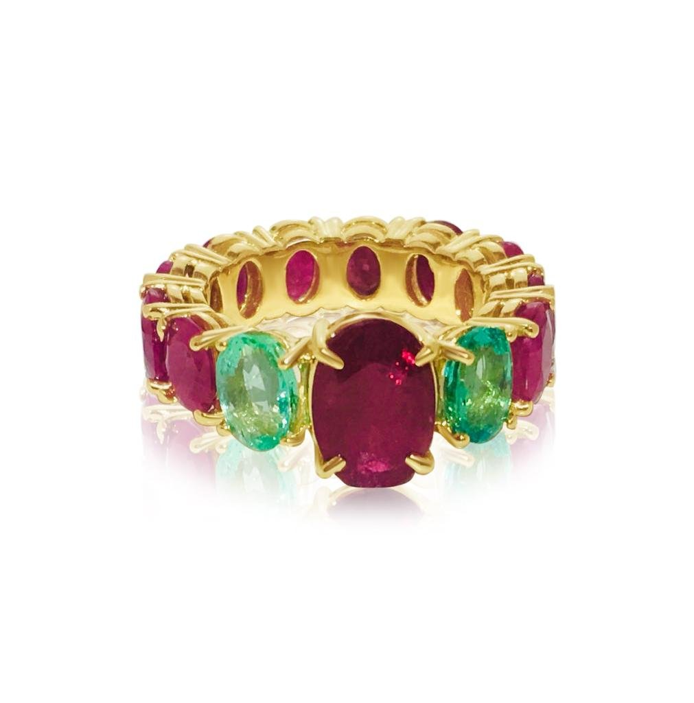 GIA Cert, 12.70 CT Ruby & Emerald; 14k Yellow Gold Ring