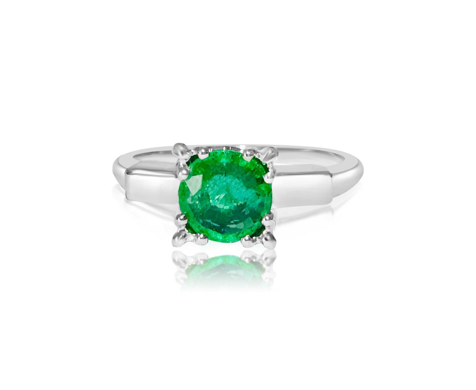 2.00 Carat Emerald in Platinum Ring