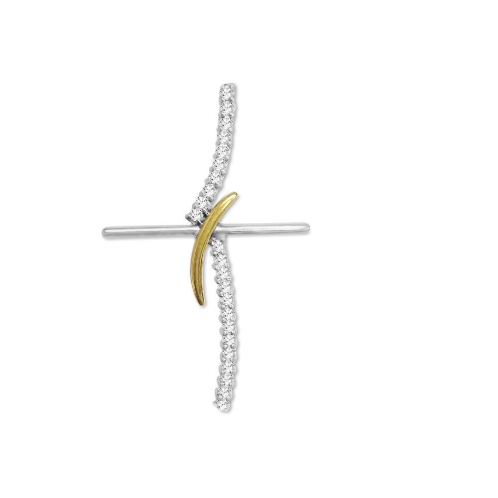 18k Gold two tone, 0.80 Carat VS/G Diamond Cross