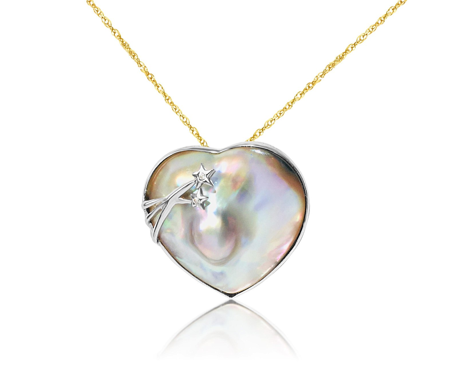 Mother of Pearl & Diamond in Sterling Silver Pendant