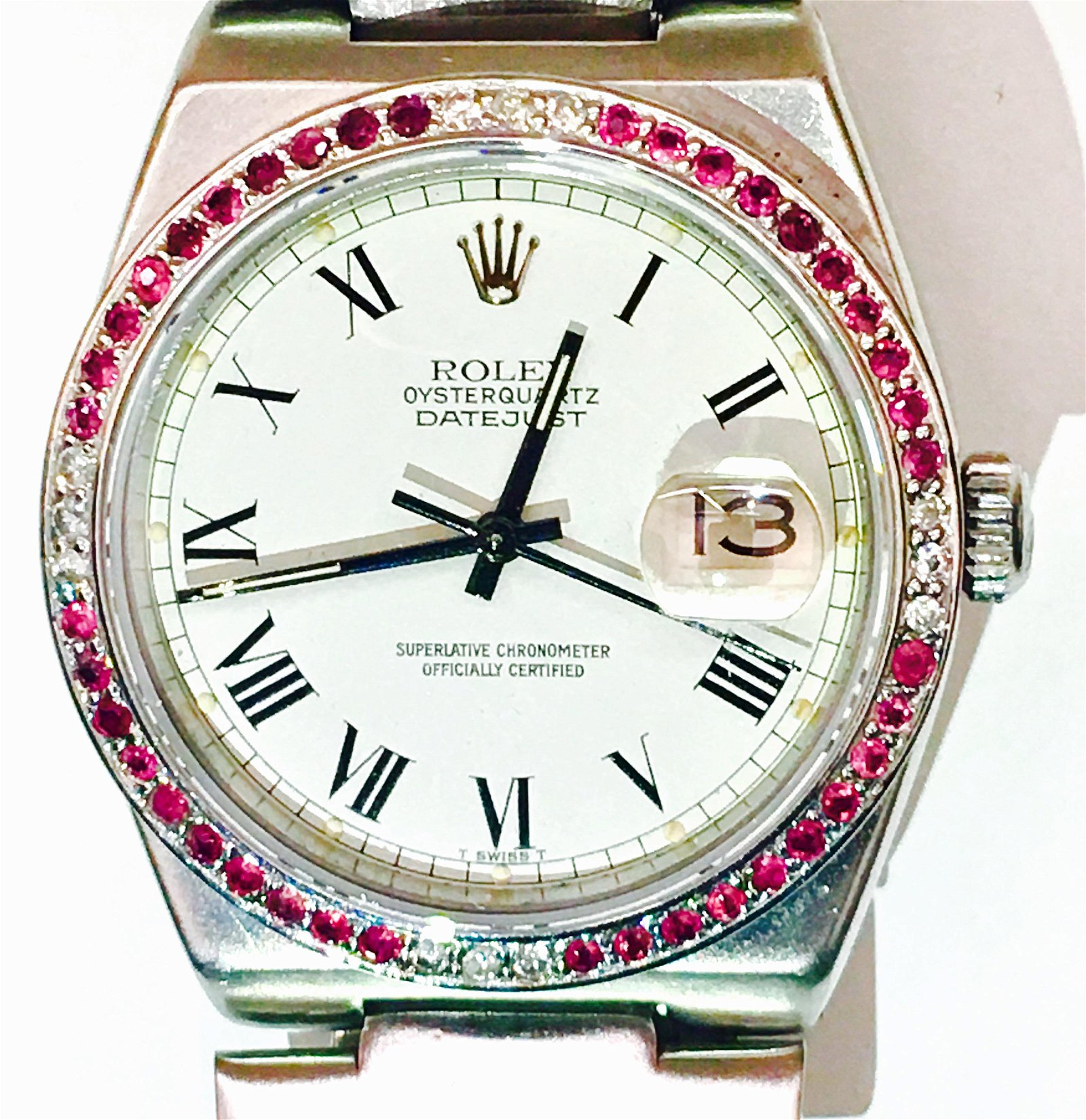 Rolex-Oysterquartz-Datejust, 36mm w/ ruby & diamonds