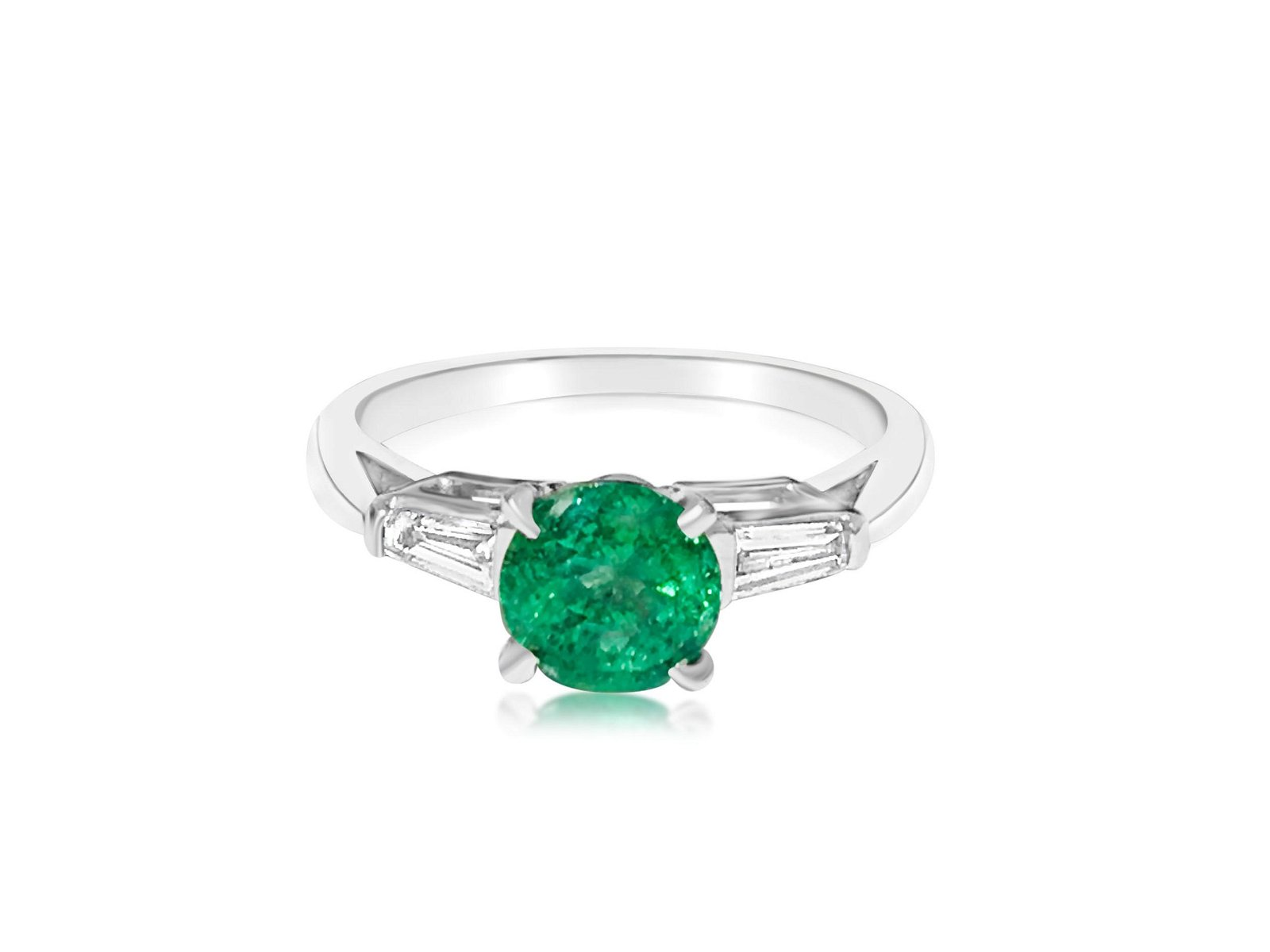 Ladies Platinum Emerald & VVS Diamond Wedding Ring