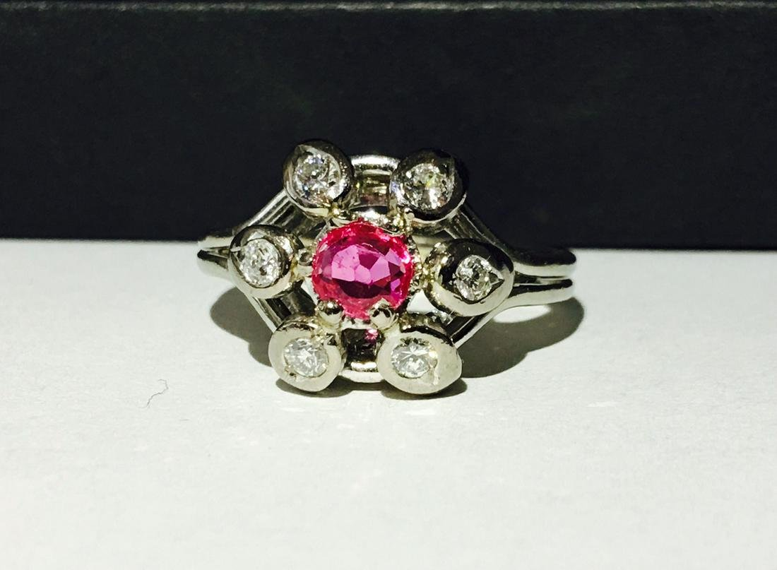 Vintage 14K Gold, 1.50ct Pink Sapphire & Diamond Ring