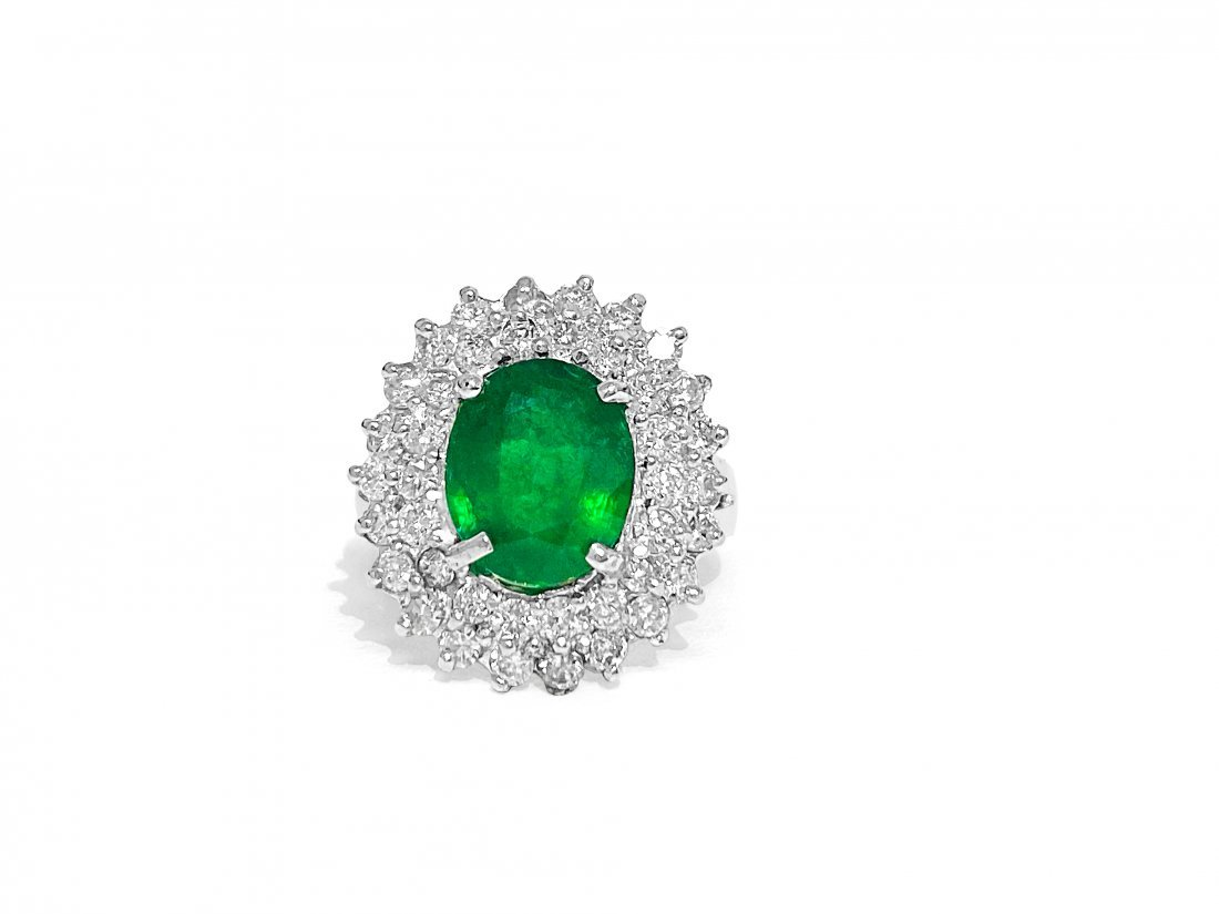 14K White Gold, Emerald and Diamond Cocktail Ring