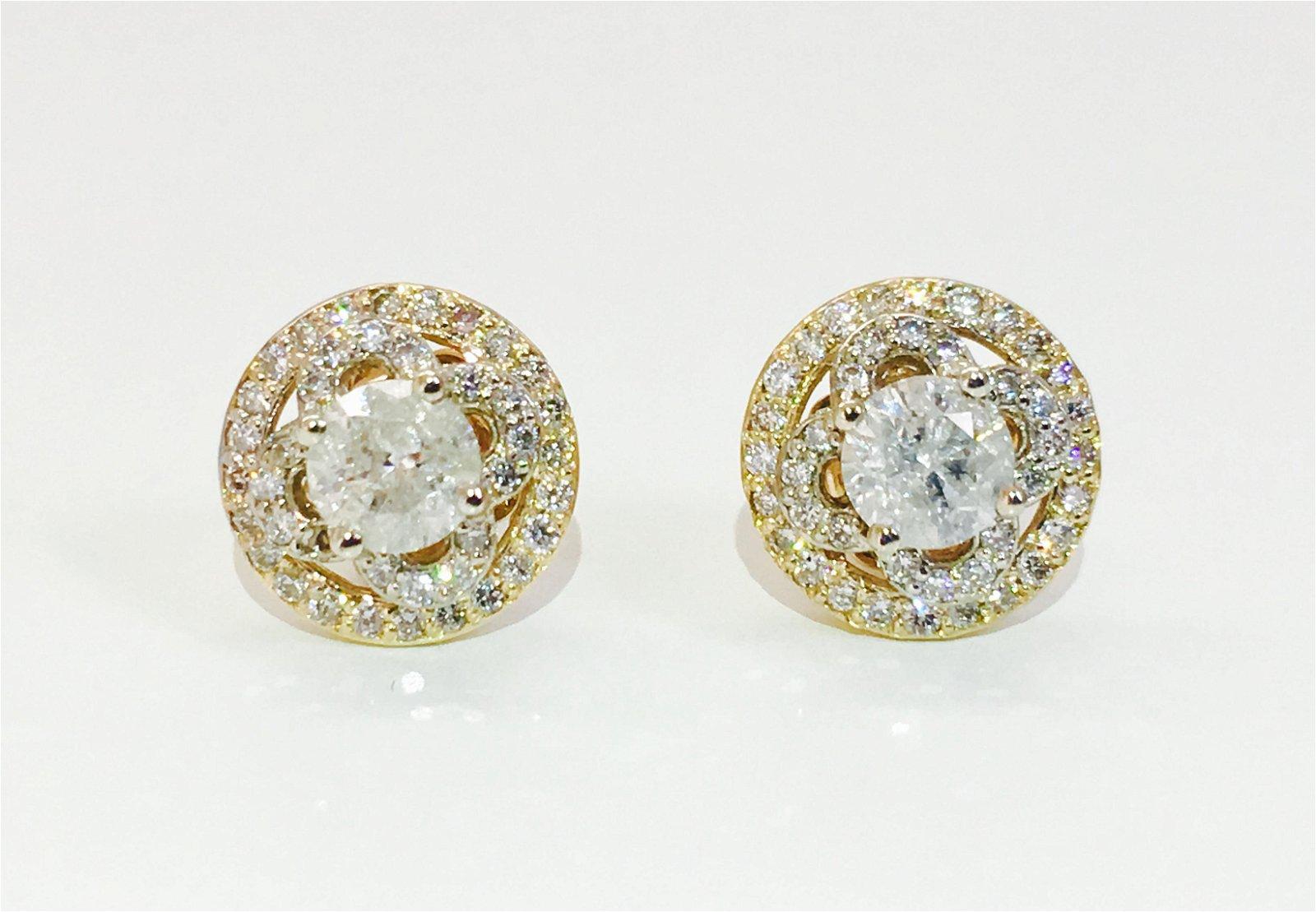 "14K Gold ""Van Cleef Style"" 1.90 Carats Diamond Studs"
