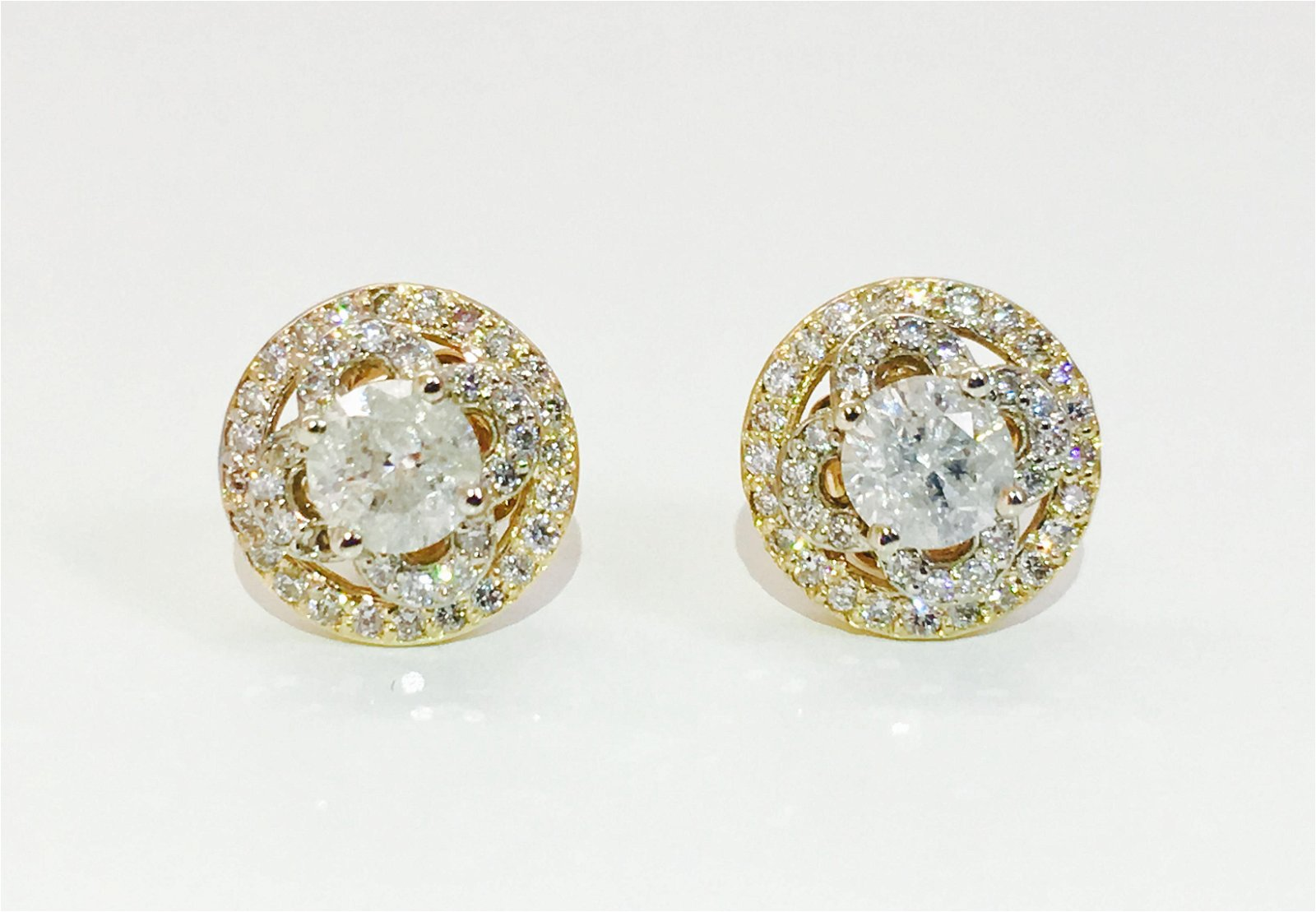 "14K Gold ""Van Cleef Style"" 1.90 Carats Diamond Studs"