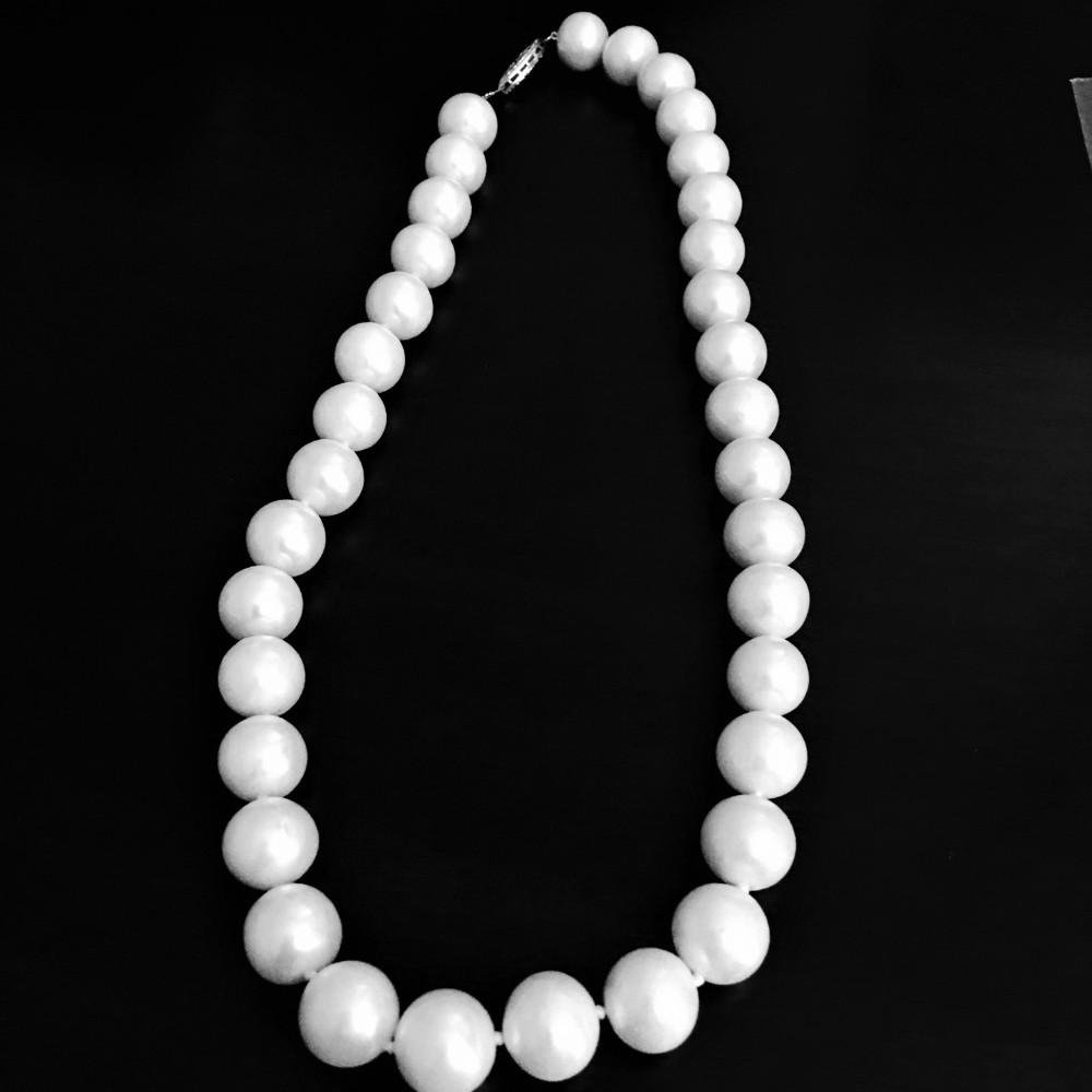 14k White Gold Natural Fresh Water Pearl Necklace