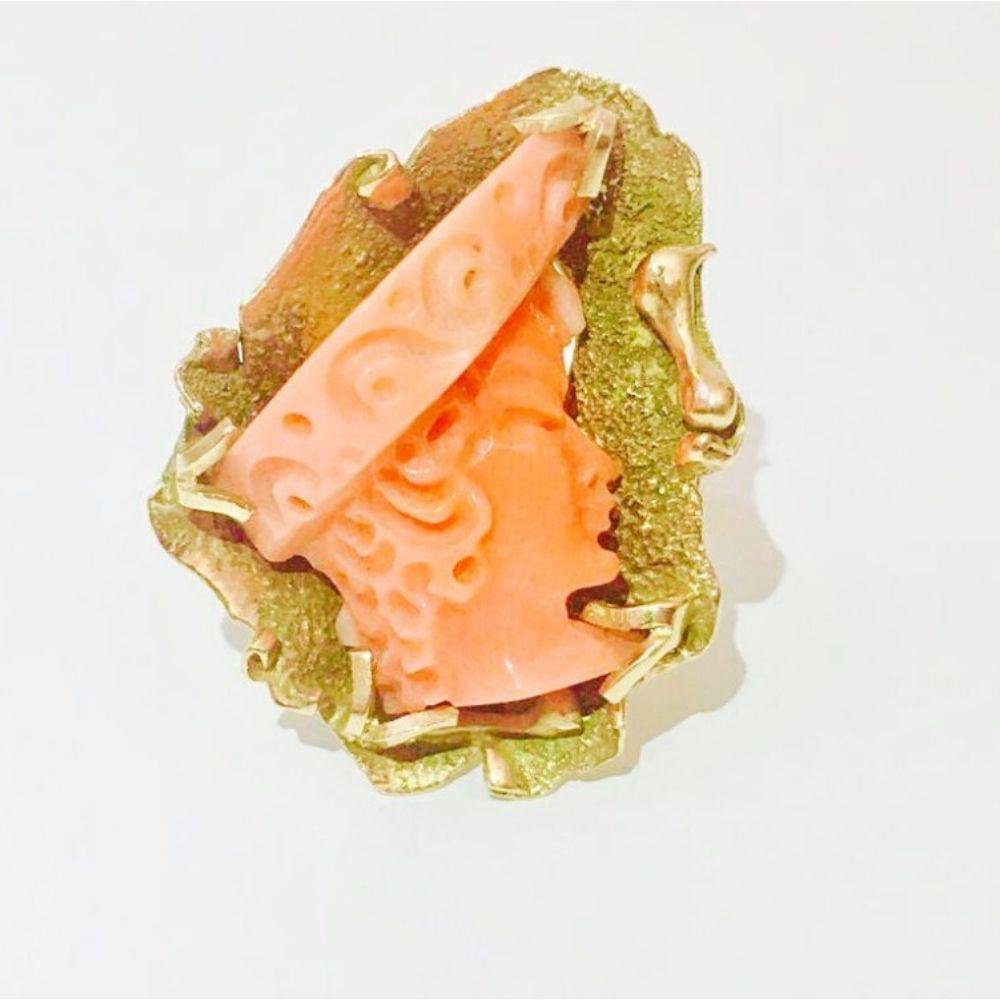 14K Yellow Gold and Coral Cameo Ring (Vintage)
