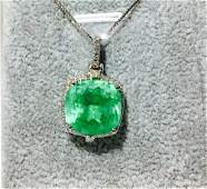 9.65 CT Colombian Emerald & Diamond Necklace, 14K Gold
