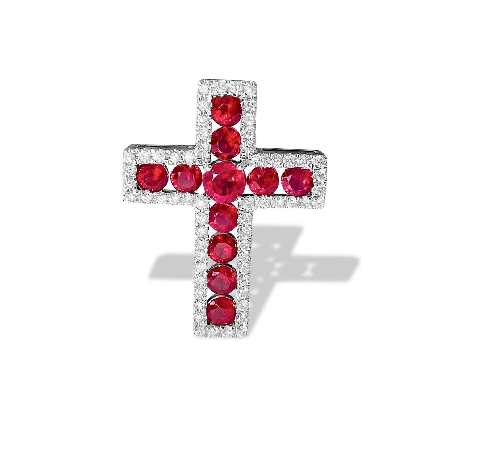 14K Gold, 2.10 Carat Diamond & Ruby Cross Pendant