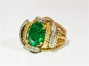 18K Gold, 3.86 Carat Diamond & Emerald Ring.