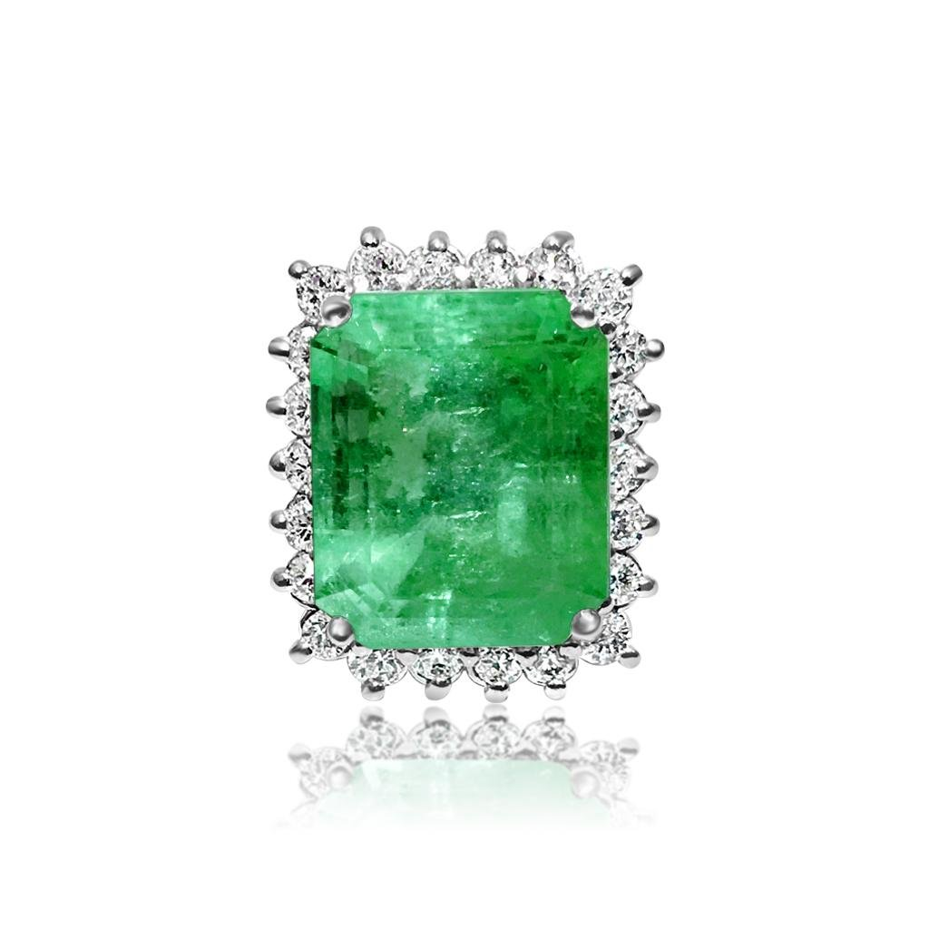 (GIA)14k, Diamond & 100% natural Colombian Emerald Ring