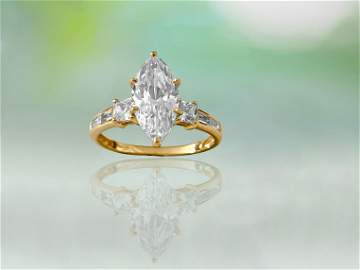 Marquise Diamond & Gold Engagement Ring For Her