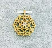 14K Gold & 0.05 carat diamond pendant. Vintage Jewelry