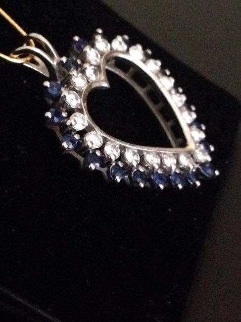 Heart Shape Diamond Sapphire Pendant