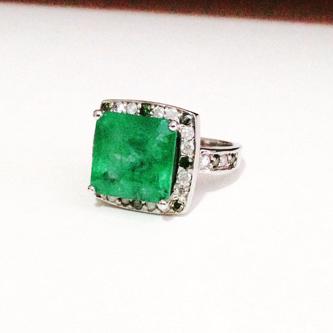 7.5 ct Emerald Ring , White and Green Diamonds