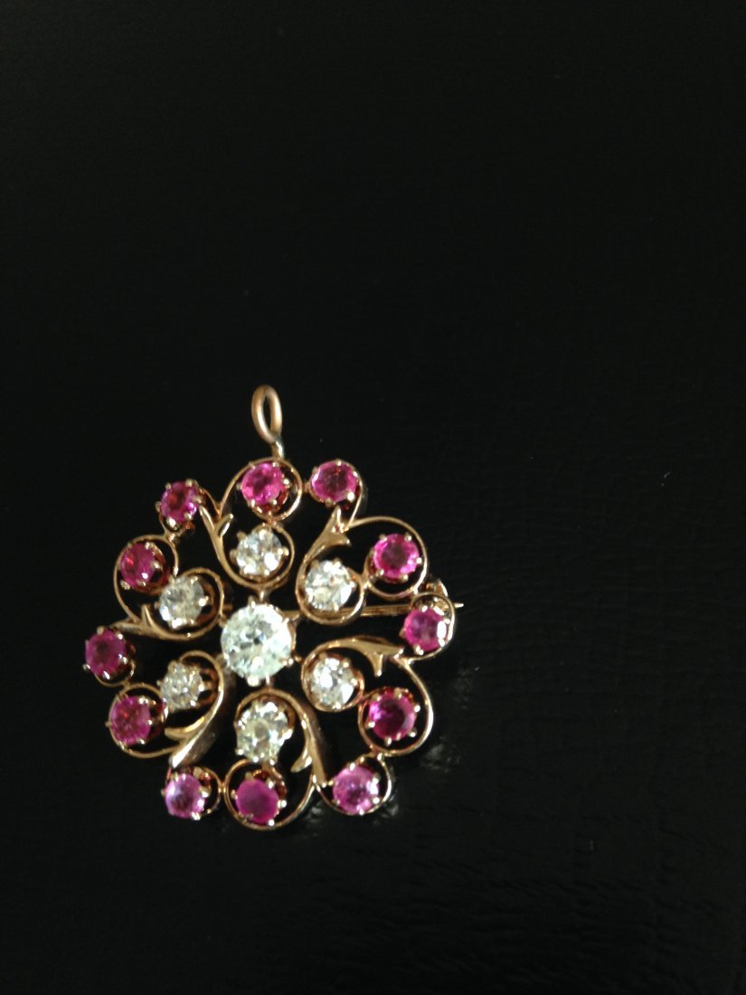 14K Gold, Ruby and Diamond Pin/Pendant.