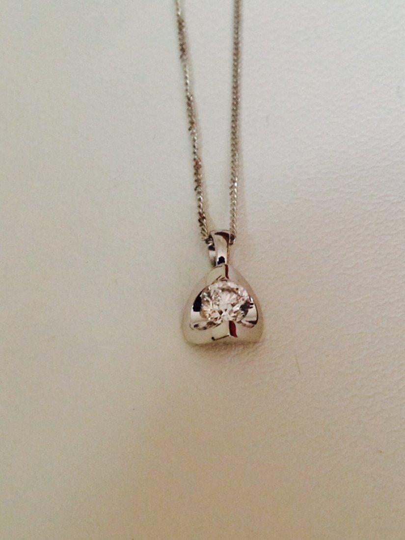 14k Gold Solitaire Diamond Pendant
