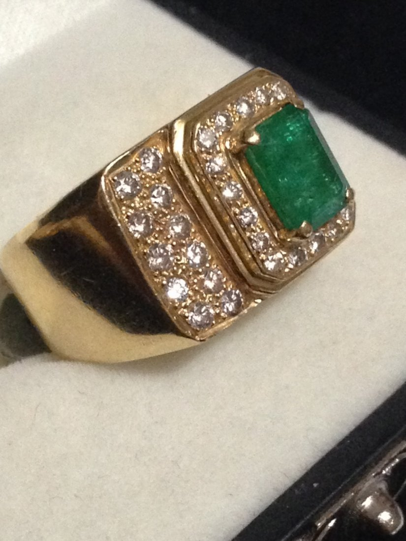 Diamond and Emerald Mens Ring AGI CERTIFIED