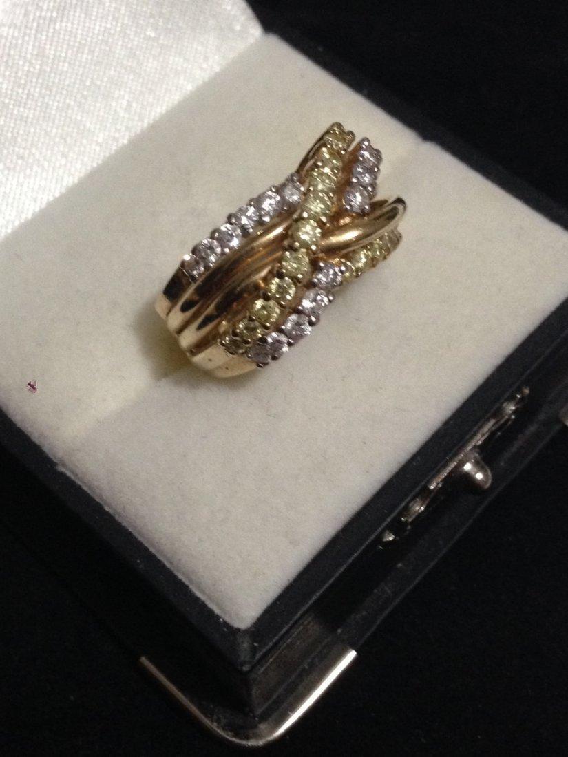 14K Gold Criss Cross Ring Yellow and White Diamonds