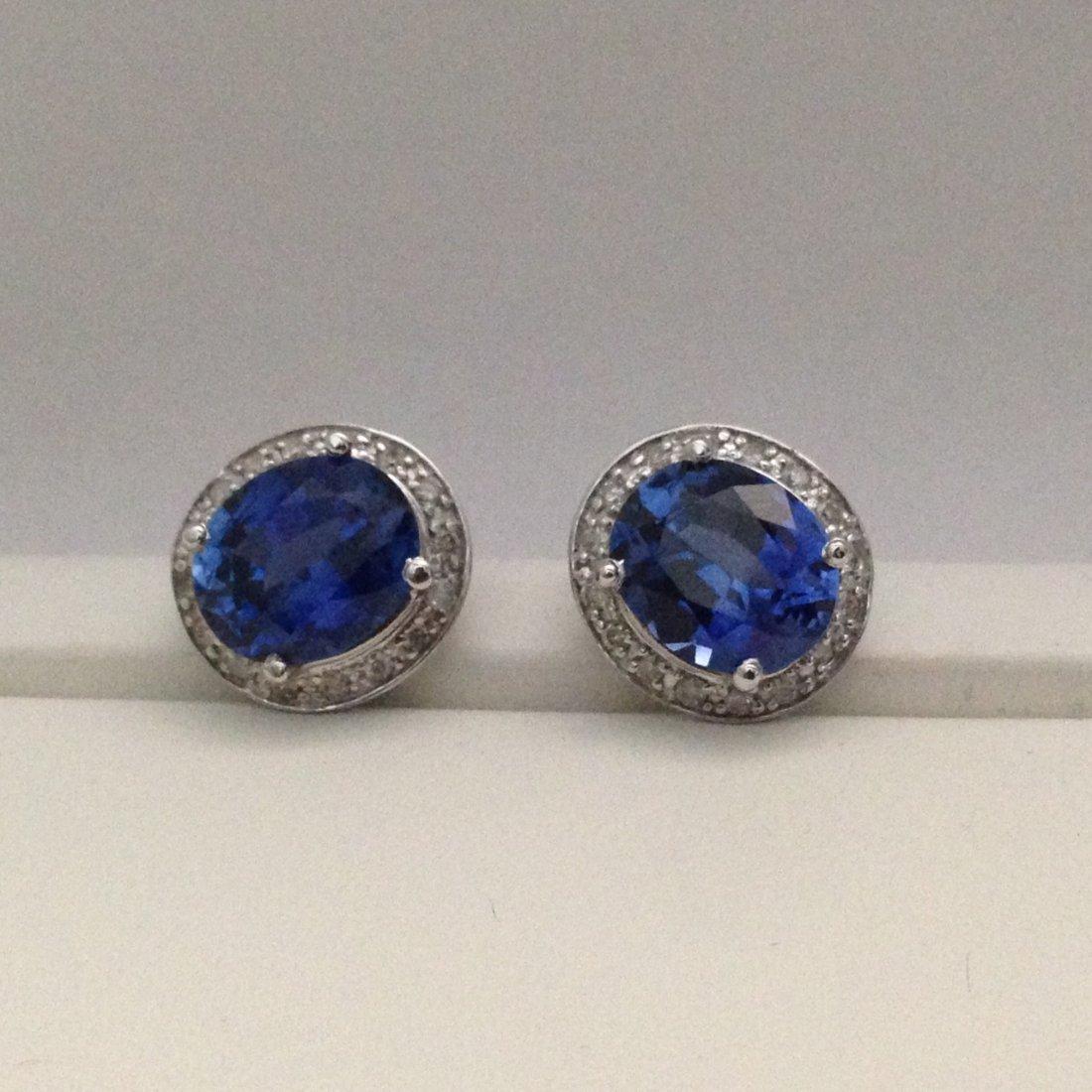 14K White Gold Blue Sapphire And Diamond Earrings/STUDS