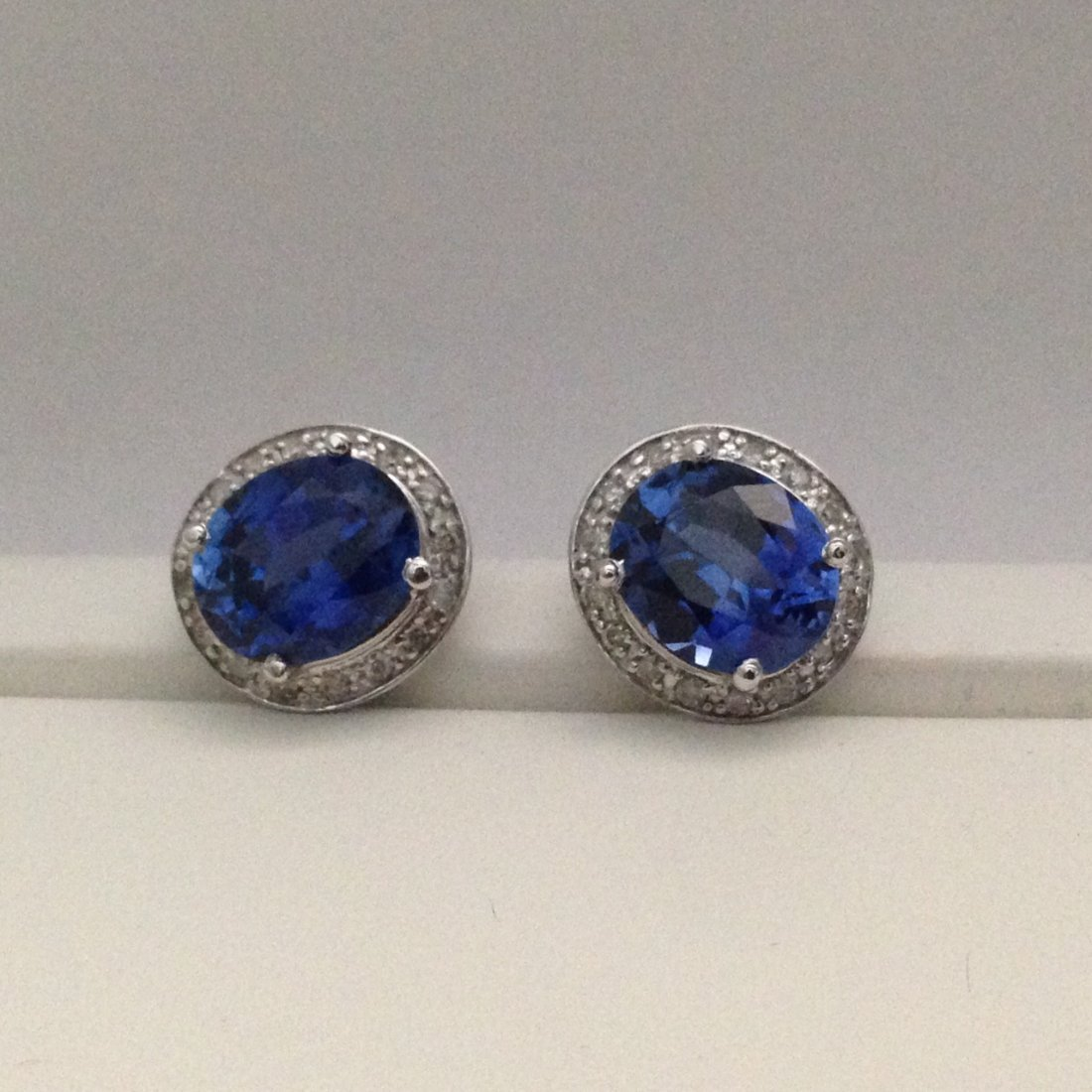 14K White Gold Blue Sapphire And Diamond Earrings/STUDS