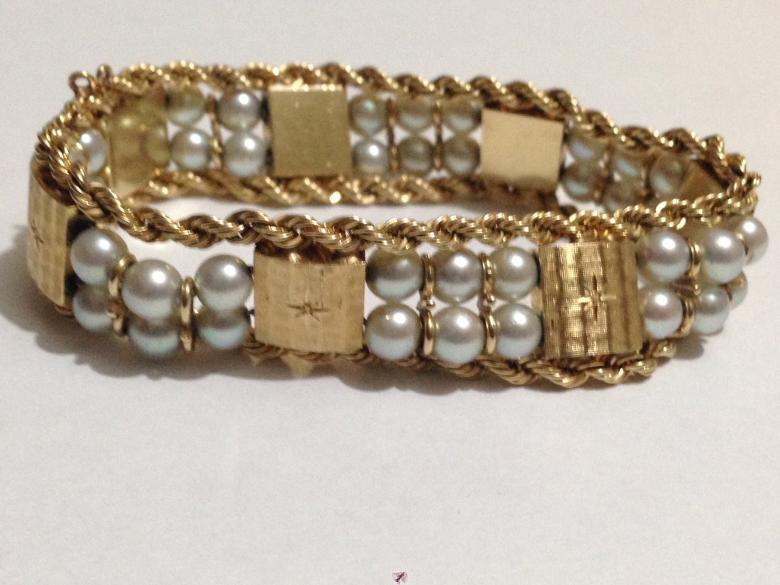 Vintage 14k Gold And Pearl Bracelet