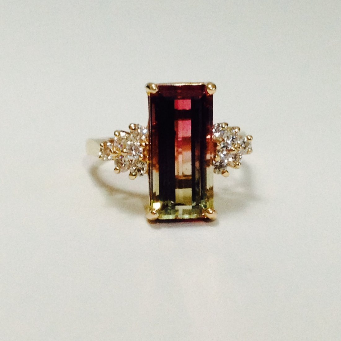 14k Yellow Gold Watermelon Tourmaline and Diamond Ring