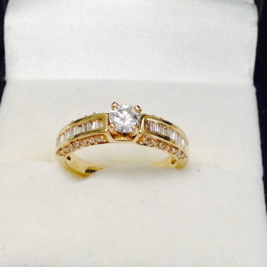 14k Yellow Gold Diamond Engagement Ring