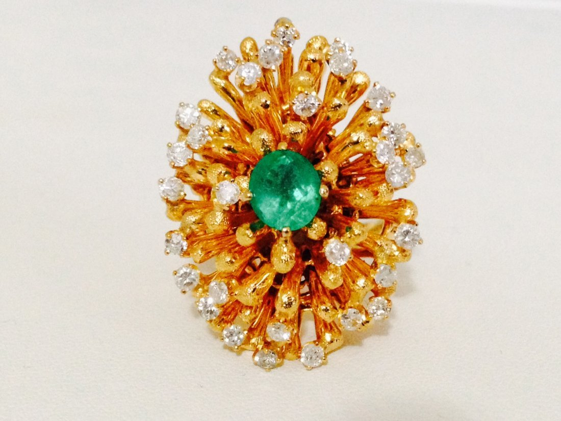 Emerald and Diamond Cocktail Ring (Vintage)**