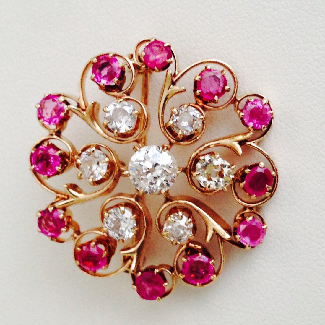 VINTAGE 3.7 CARAT DIAMOND AND RUBY PIN/PENDANT