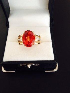14k Gold Diamond And Tourmaline Ring