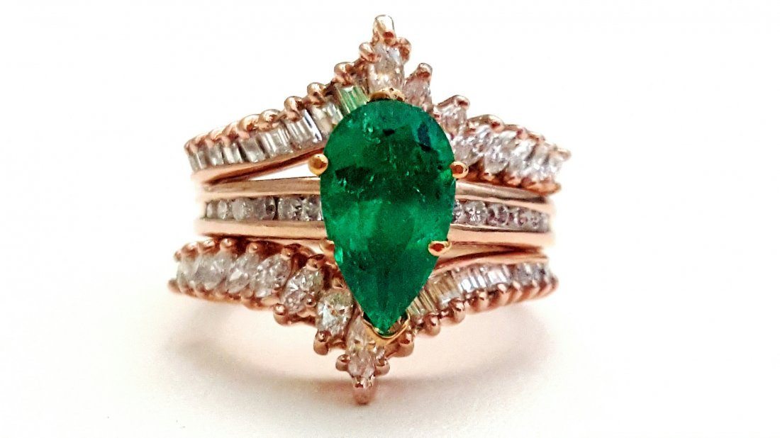 14k Rose Gold Diamond AND EMERALD Ring