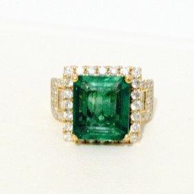14k Yellow Gold 5.5 Carat Emerald & 2 Carats Of Diamond