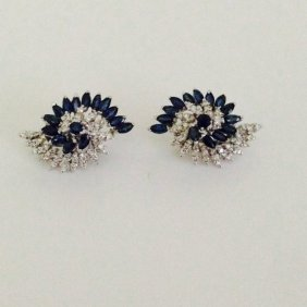 White Gold Diamond And Natural Blue Sapphire Earrings