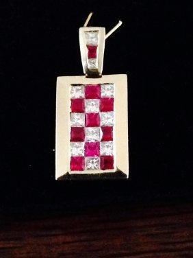 18k Gold High Quality Diamond & Ruby Pendant