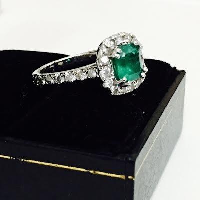 Emerald & Diamond Engagement Ring - 2