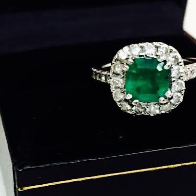 Emerald & Diamond Engagement Ring - 3