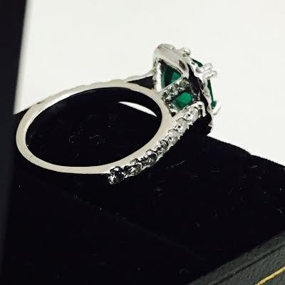 Emerald & Diamond Engagement Ring - 4