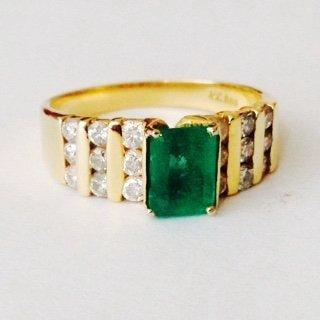 Emerald & Diamond Yellow Gold Ring