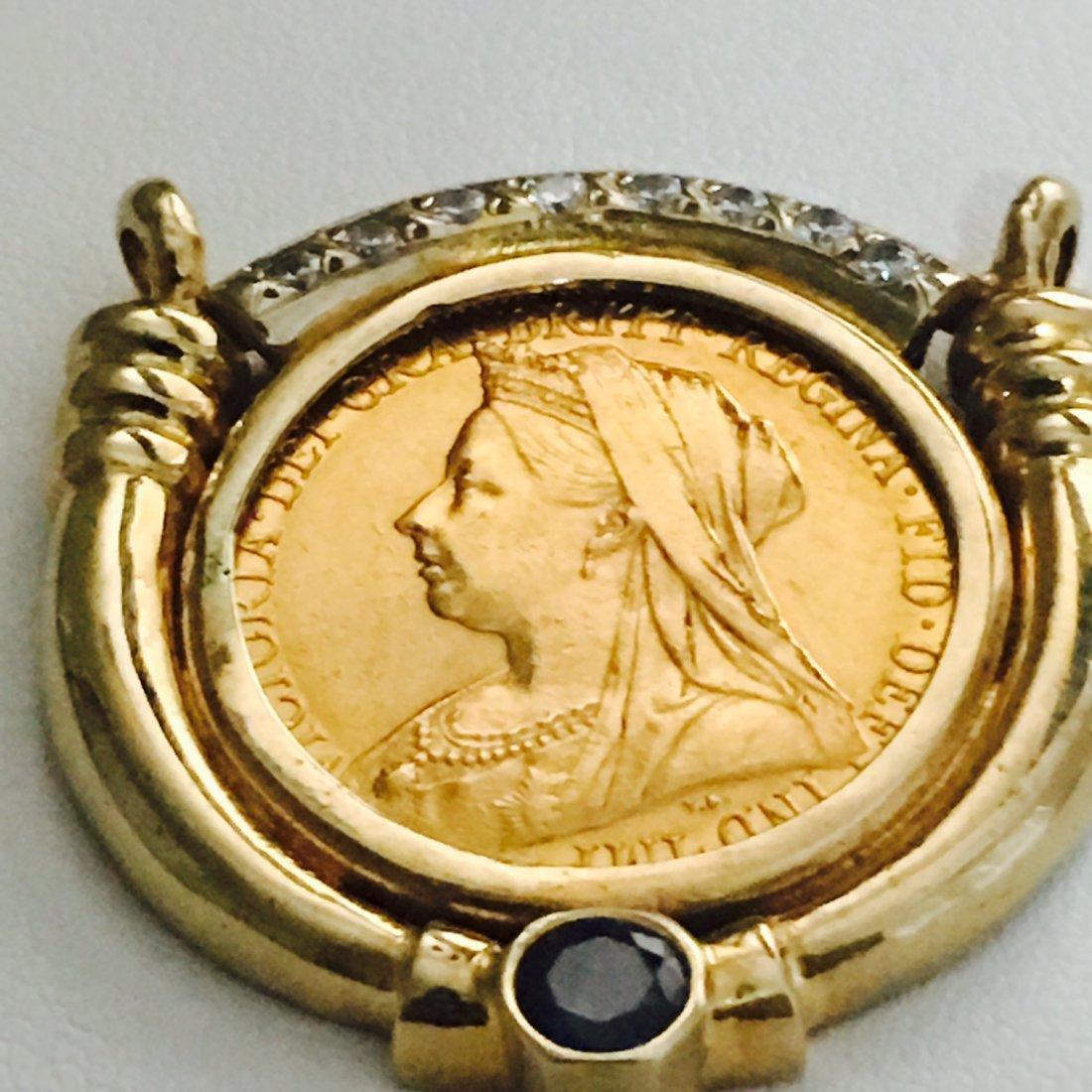 1899 QUEEN VICTORIA GOLD COIN W/ DIAMOND  BLUE SAPPHIRE - 2